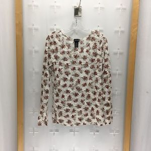 Wet Seal Women's Ls Floral Shell Top Red And White